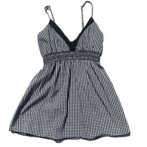Tops - Gingham black and white empire waist tank small